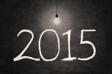 Bright lightbulb with number 2015