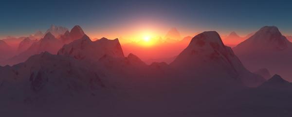 Багровый закат в горах.