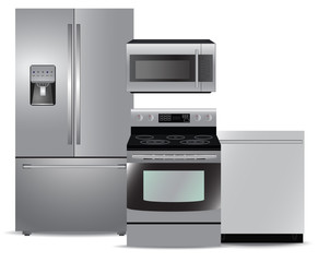 Steel kitchen appliance package