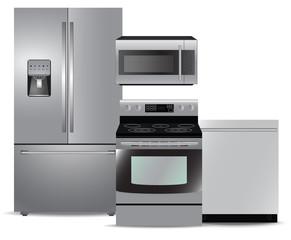 Steel kitchen appliance package