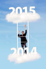 Business person on ladder upward