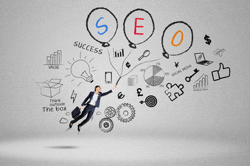 Businesswoman chase her target using SEO 2
