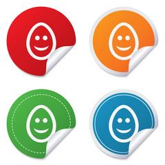 Smile egg face sign icon. Smiley symbol.