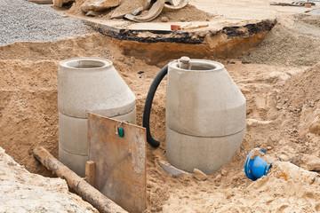 Kanalbau und Arbeiten an der Wasserversorgung