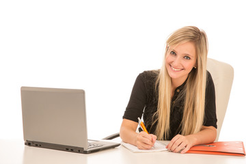 Blond Smiling Woman with Laptop Working at Desk
