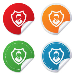 Security agency icon. Shield protection symbol.