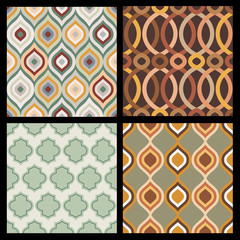 Set of seamless autumn patterns. Abstract  geometric wallpaper.