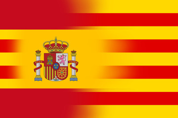 Spain and Catalonia Flag