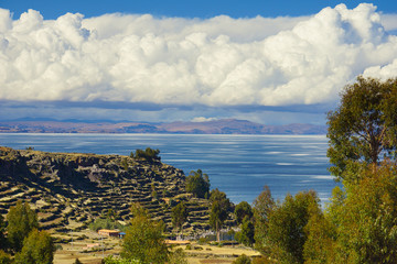 View of Lake Titicaca from Amantani Island, Puno, Peru