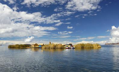 Uros floating island. Lake Titicaca, Puno, Peru