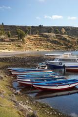 Boats.Amantani Island in Lake Titicaca, Puno, Peru