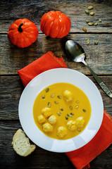 pumpkin soup with meatballs