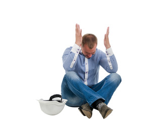 Builder throwing up his hands in disgust