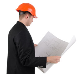 Architect looking at a blueprint