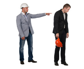 Architect admonishing his young partner