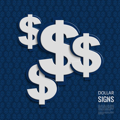 Vector dollar signs on blue background.