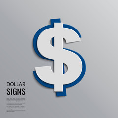 Vector dollar sign on grey background.
