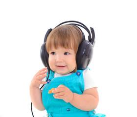 cute baby wearing headphones