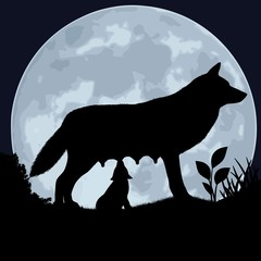 Silhouette of a wolf and wolfling on the background of the moon.