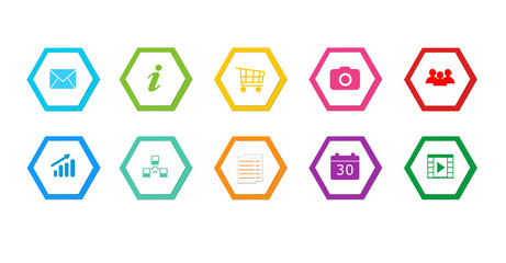 Colorful buttons for Web menu or marketing with hexagons