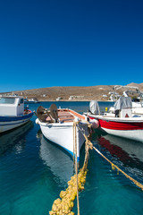 Little fishers boats on the aegean sea