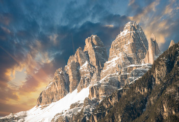 Dolomites, Italy. Terrific view of Alps Mountains with colourful