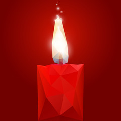 Polygonal red burning candle