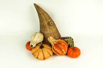 Cornucopia with Gourds and Pumpkins
