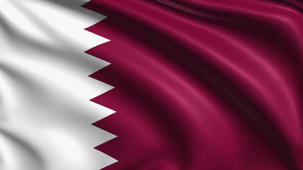 Qatar flag with fabric structure; looping