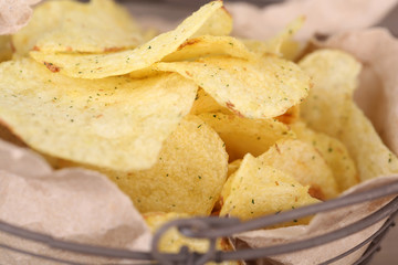 Tasty potato chips, close up