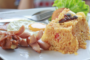 American Fried Rice with egg ham and sausage