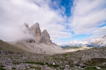 Three Peaks of Lavaredo, Italy. Stynning Mountain landscape