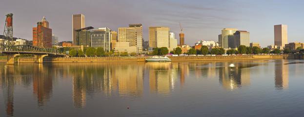 Portland Oregon panorama in morning light.
