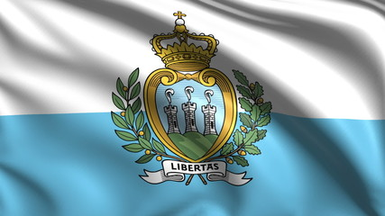 flag of San Marino with fabric structure; looping
