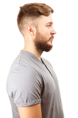 Portrait of handsome man with beard isolated on white