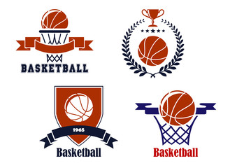 Basketball team emblems or symbols