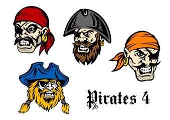 Cartoon pirates and captains