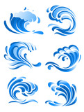 Blue curling ocean waves