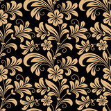 Floral seamless pattern with gold flowers