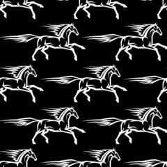 Seamless pattern of horse stallions