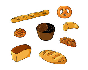 Set of cartoon bread bakeries