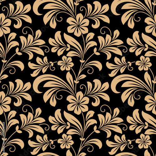 Foto op Plexiglas Kunstmatig Floral seamless pattern with gold flowers