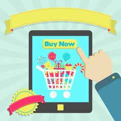 Buy candies online through tablet