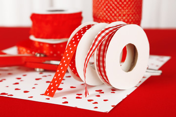 Ribbons with scissors close up