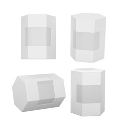 White hexagon box packaging with clipping path