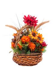 Autumn flower arrangement isolated on white