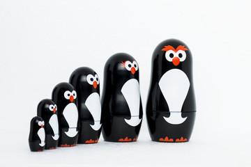 Potrait of penguin toy figure family