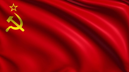 Soviet Union flag with fabric structure; looping