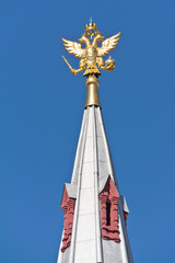 Moscow. Coat of arms on the spire of building