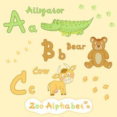 Colorful children's alphabet with animals, alligator, bear, cow